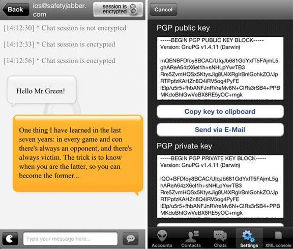 Под iOS выпущен Jabber клиент, способный шифровать переписку на iPhone и iPad
