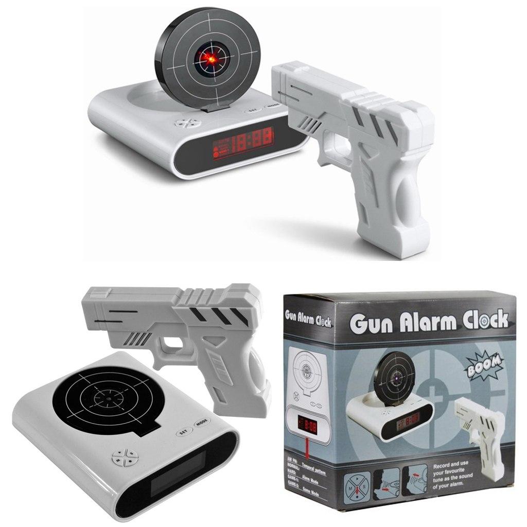 Будильник-мишень с лазерным пистолетом