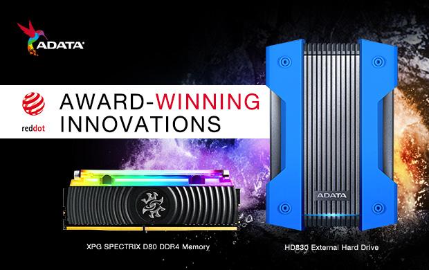 Внешний жесткий диск ADATA HD830 и модуль памяти SPECTRIC D80 XPG получили награду Red Dot Design Award
