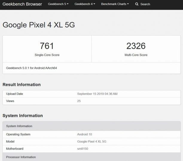 Google Pixel 4 XL в базе популярного бенчмарка Geekbench
